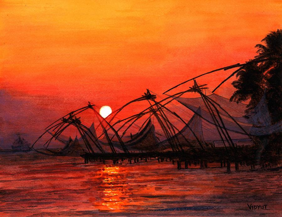 Fisherman Sunset In Kerala-india Painting  - Fisherman Sunset In Kerala-india Fine Art Print