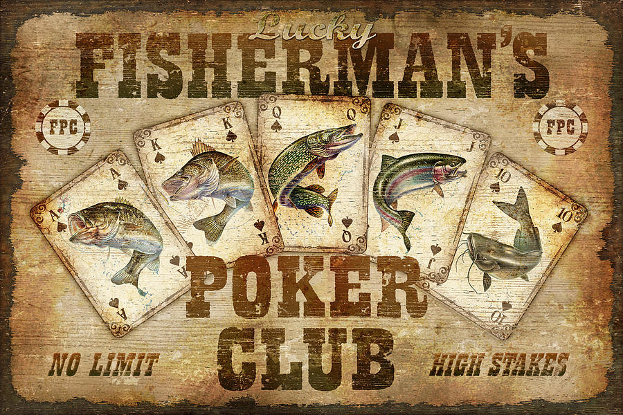 Fishermans Poker Club Painting  - Fishermans Poker Club Fine Art Print