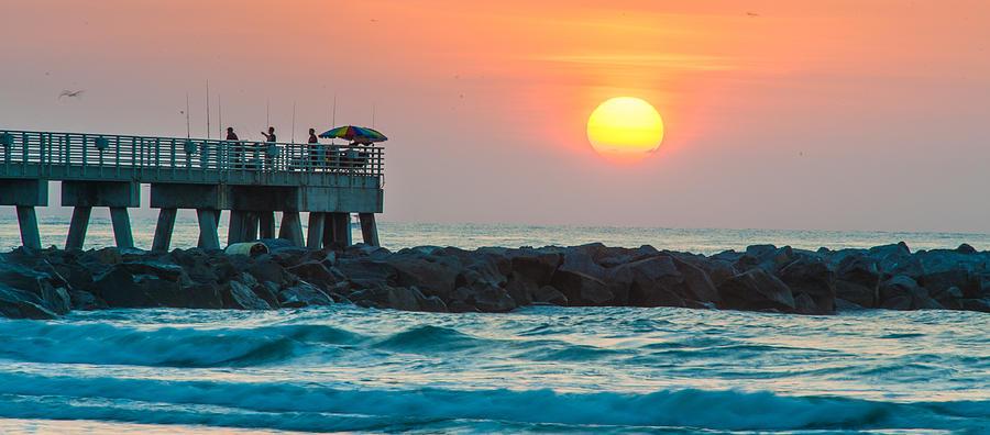 Birds Photograph - Fishermans Sunrise by Cliff C Morris Jr