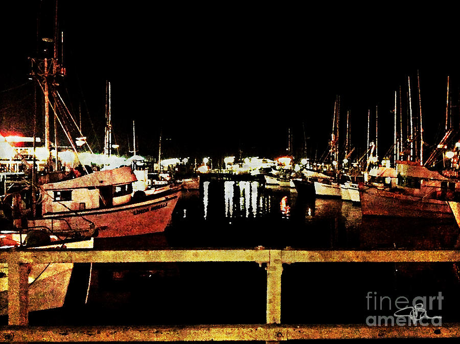 Fishermans Wharf At Night San Francisco California Painting