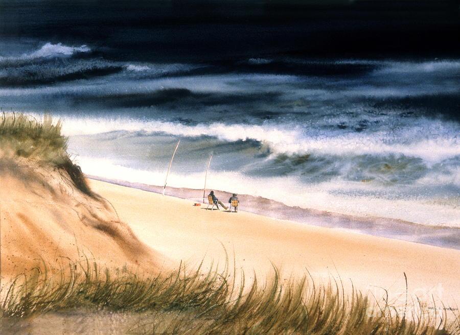 Ocean Painting - Fishermens Wait by Karol Wyckoff