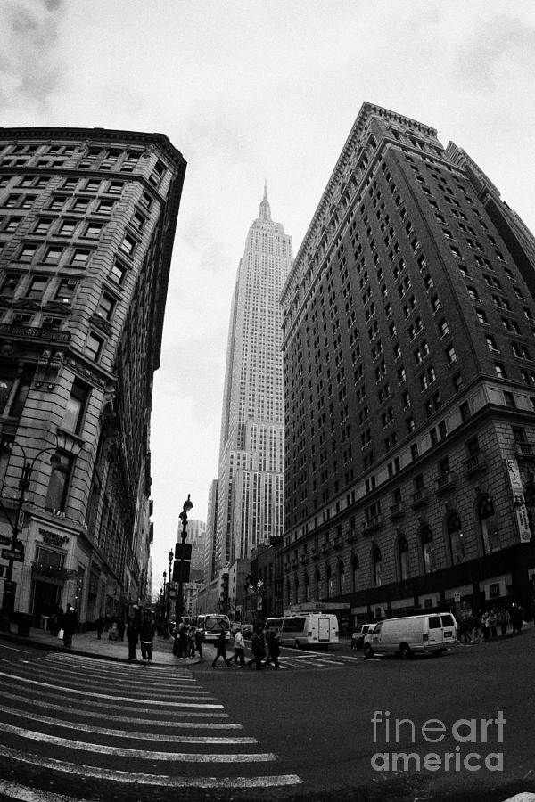 fisheye shot View of the empire state building from West 34th Street and Broadway new york usa Photograph