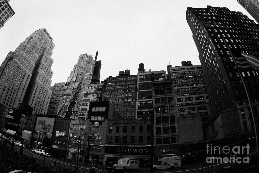 Fisheye View Of 34th Street From 1 Penn Plaza New York City Usa Photograph  - Fisheye View Of 34th Street From 1 Penn Plaza New York City Usa Fine Art Print