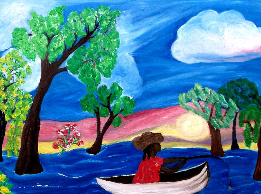 Fishing Alone 2 Painting  - Fishing Alone 2 Fine Art Print