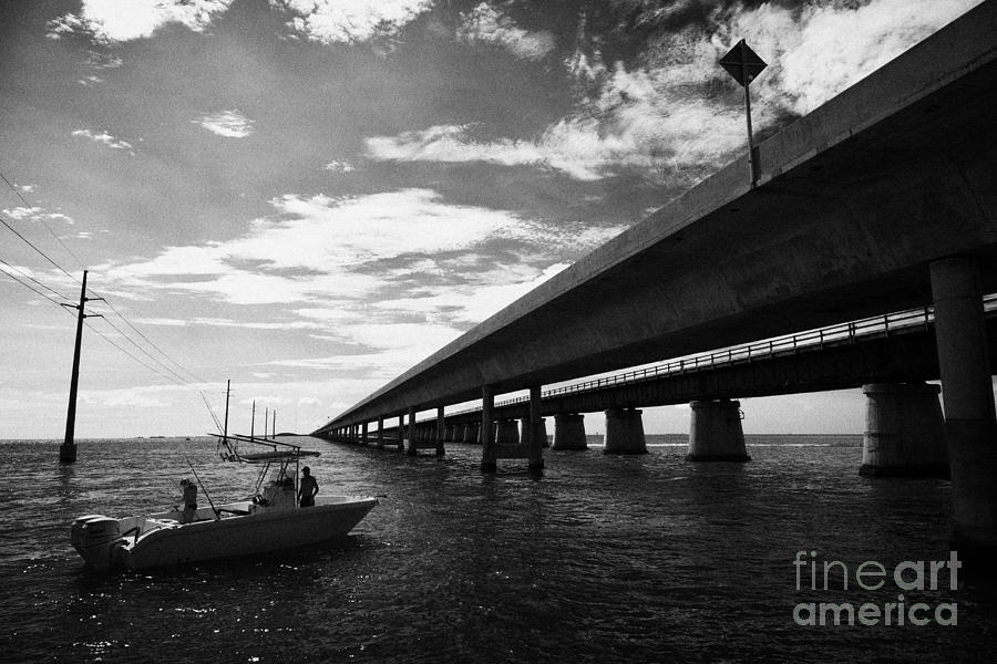Seven Photograph - Fishing Boat Beneath New Seven Mile Bridge In Marathon In The Florida Keys by Joe Fox