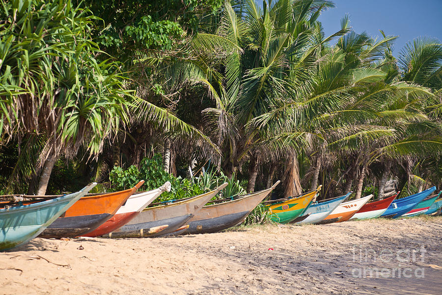 Fishing Boats B Mirissa Beach Photograph  - Fishing Boats B Mirissa Beach Fine Art Print