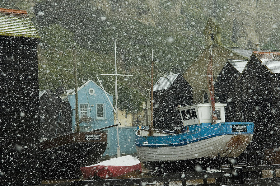 Parker Photograph - Fishing Boats Covered With Snow In Old by Chris Parker