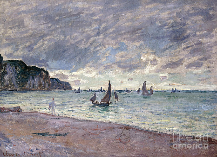 Fishing Boats In Front Of The Beach And Cliffs Of Pourville Painting
