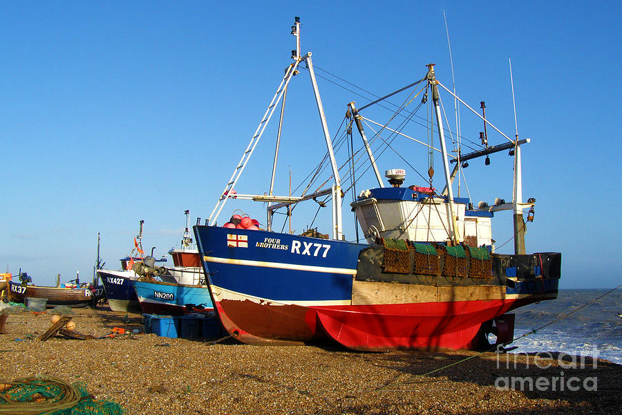 Fishing Boats On Hastings Stade Photograph  - Fishing Boats On Hastings Stade Fine Art Print