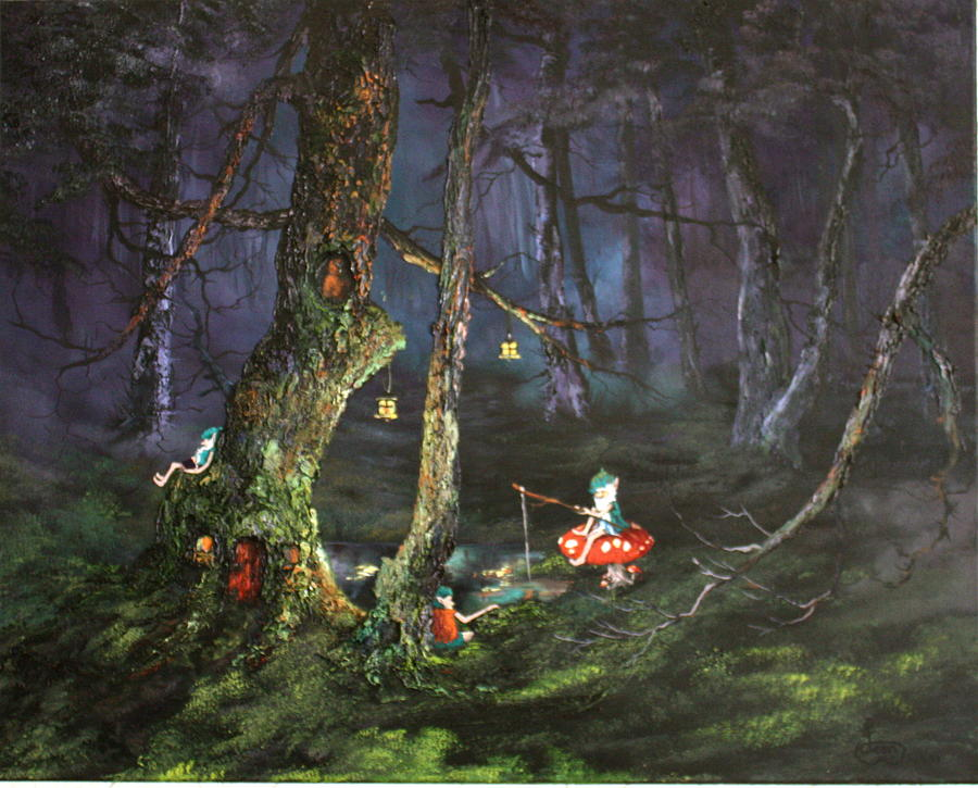 Fishing For Supper On Cannock Chase Painting