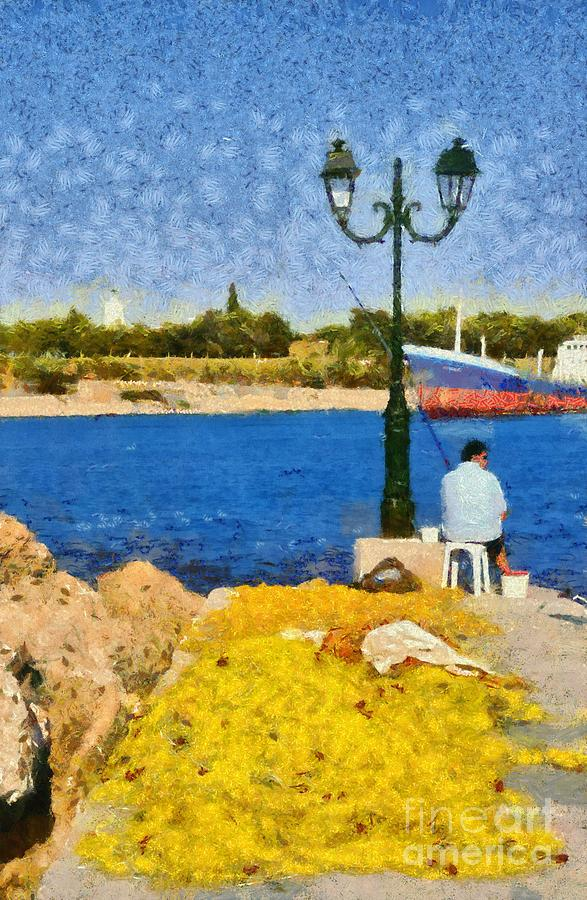 Fishing In Spetses Island Painting
