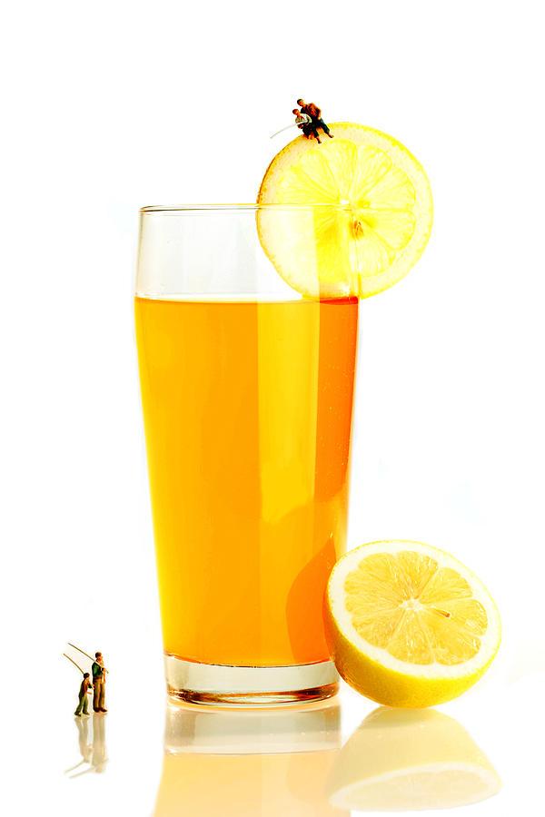 Fishing On A Cup Of Orange Juice Miniature Art Photograph ...