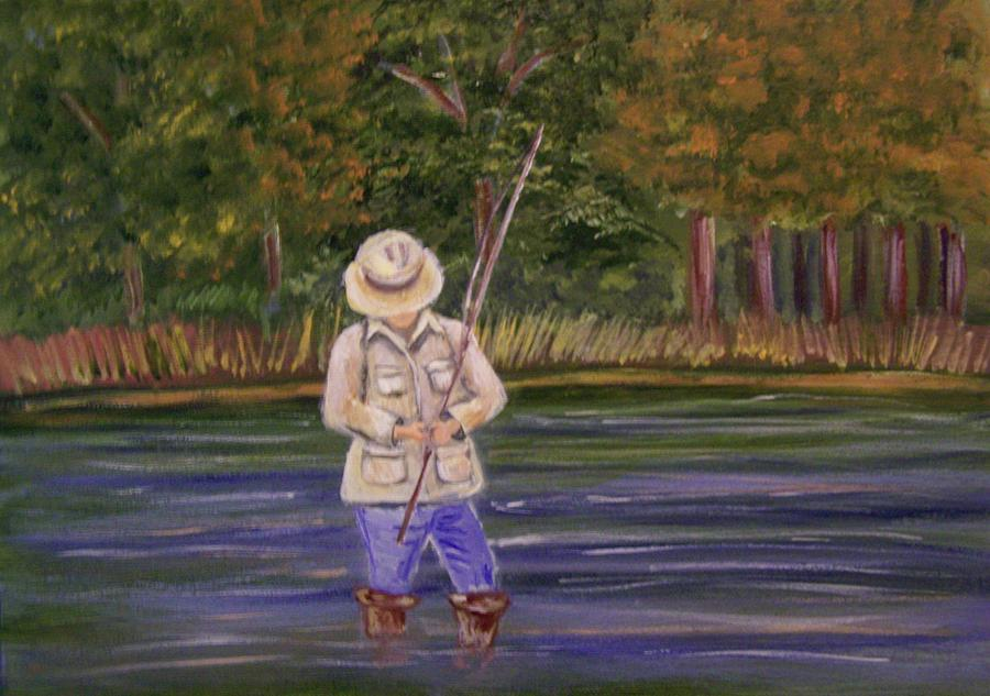 Fishing On The River Painting  - Fishing On The River Fine Art Print