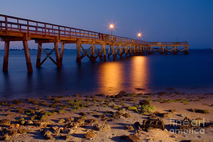 Fishing pier at night north carolina photograph by dan for Nc fishing piers