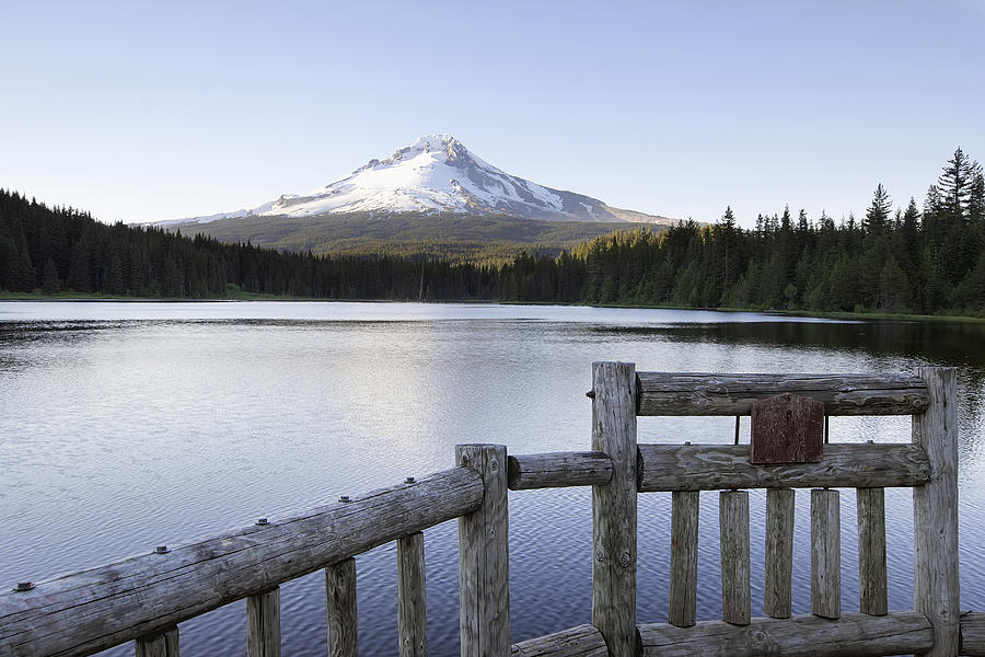 Fishing pier at trillium lake oregon photograph by jpldesigns for Clear lake oregon fishing