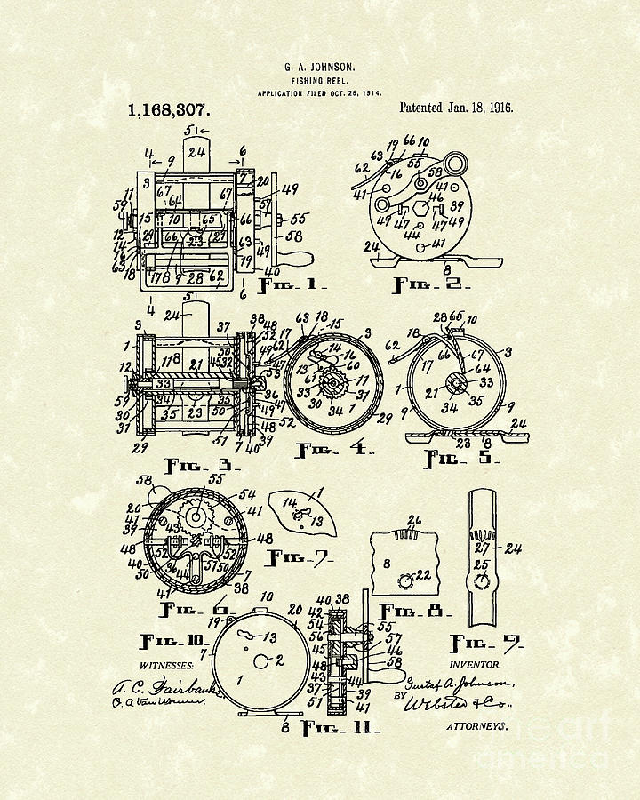 Fishing Reel 1916 Patent Art Drawing  - Fishing Reel 1916 Patent Art Fine Art Print