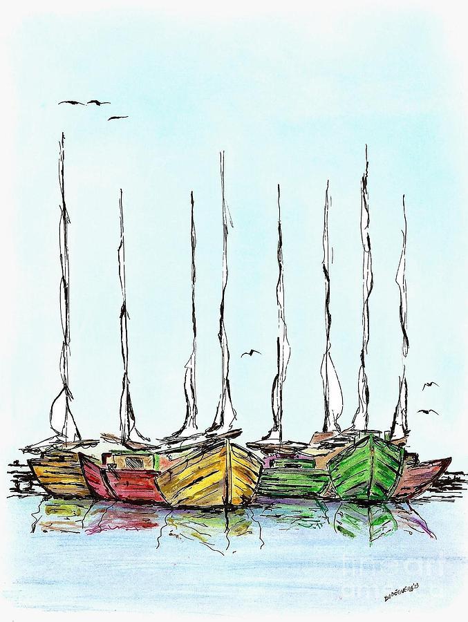 Fishing Sailboats Drawing Pen And Ink Drawing