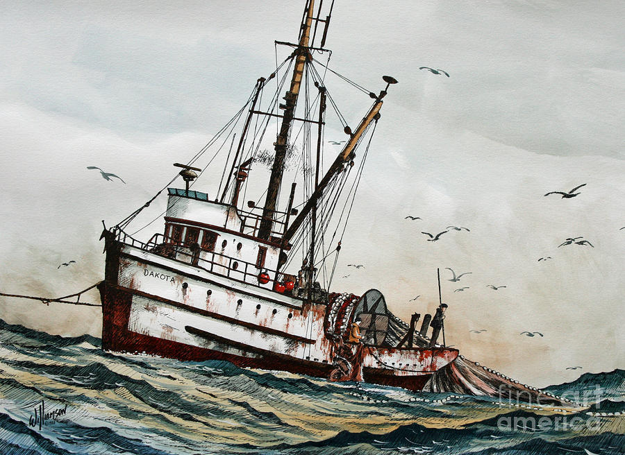 Fishing Vessel Dakota Painting  - Fishing Vessel Dakota Fine Art Print