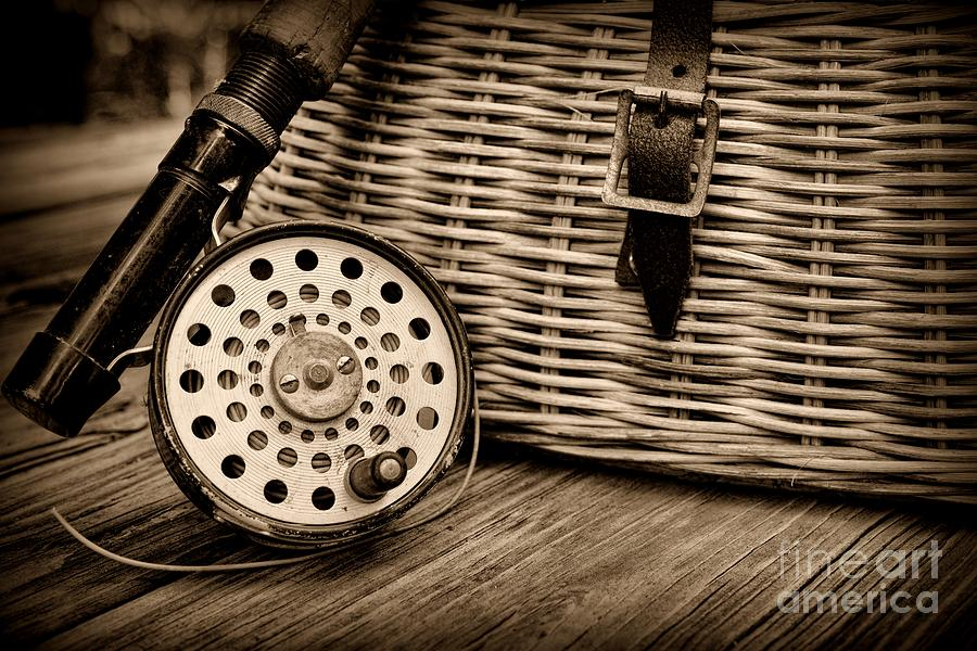 Fishing - Vintage Fly Fishing - Black And White Photograph  - Fishing - Vintage Fly Fishing - Black And White Fine Art Print