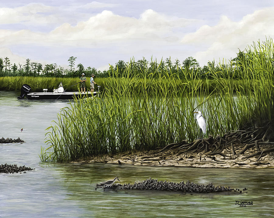 Fishingthe Buffalo Painting  - Fishingthe Buffalo Fine Art Print
