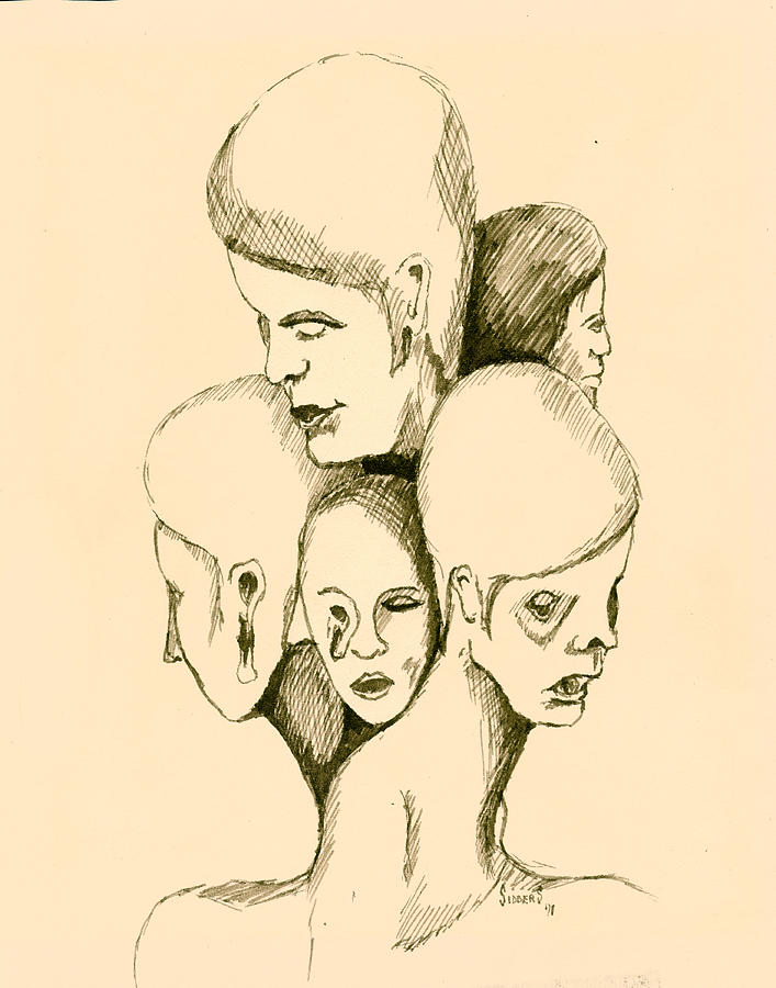 Five Headed Figure Drawing  - Five Headed Figure Fine Art Print