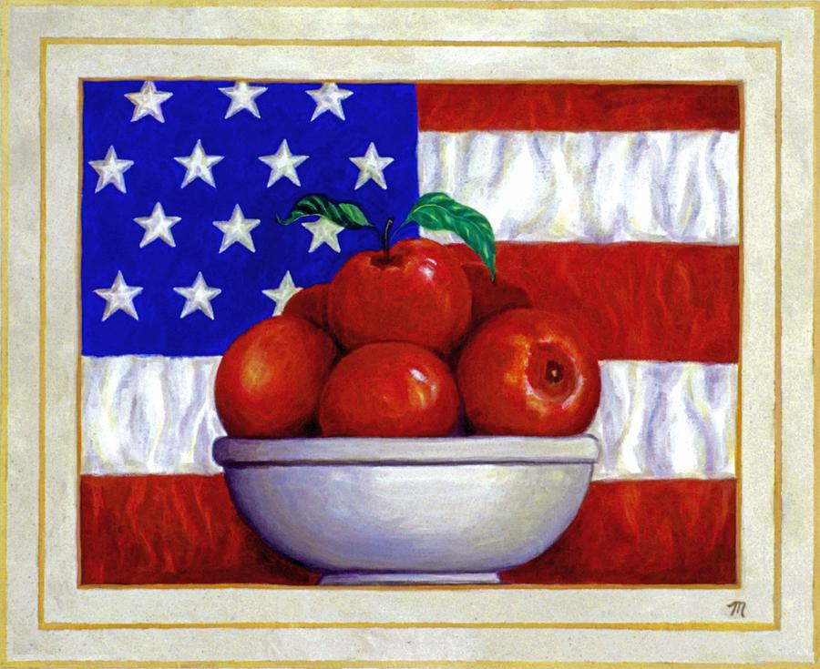 Flag And Apples Painting  - Flag And Apples Fine Art Print