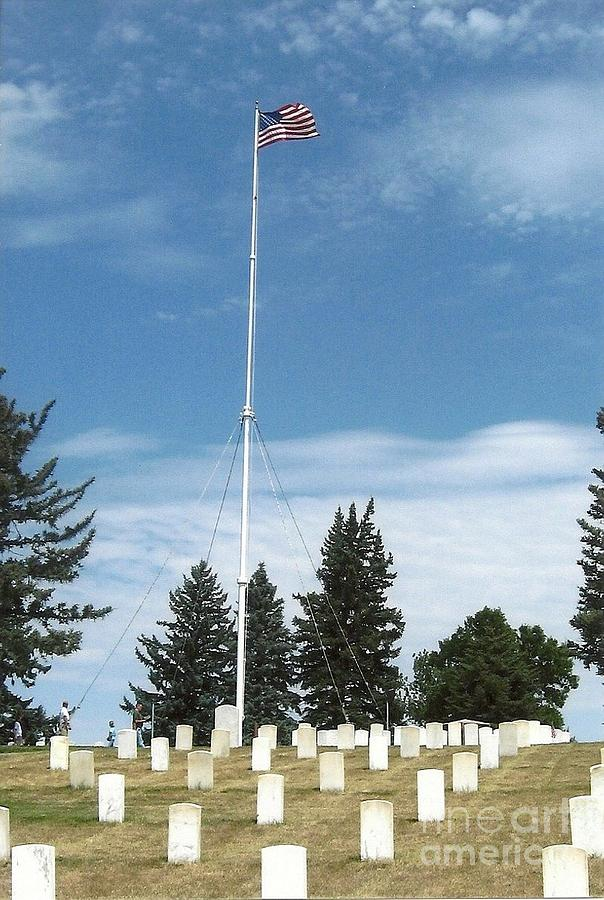 Flag At Custer National Cemetery Photograph
