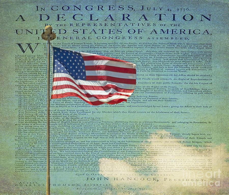 Flag - Declaration Of Independence -  Luther Fine Art Photograph