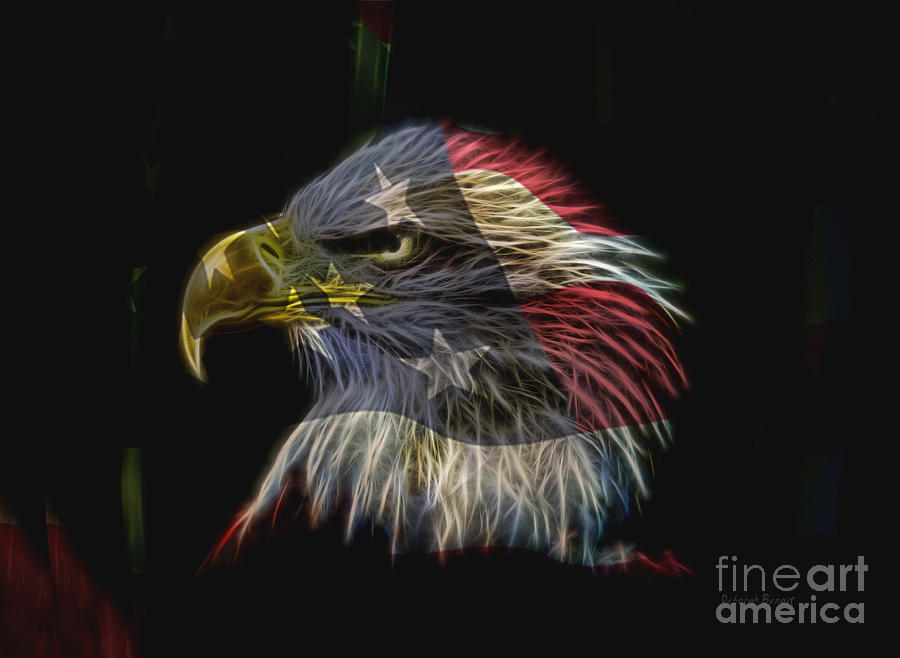 Eagle Photograph - Flag Of Honor by Deborah Benoit