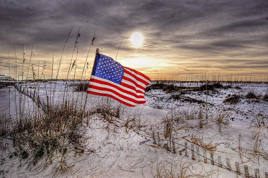 Flag On The Beach Digital Art  - Flag On The Beach Fine Art Print