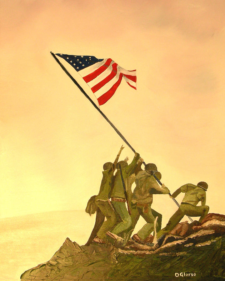 Flag Raising At Iwo Jima Painting  - Flag Raising At Iwo Jima Fine Art Print