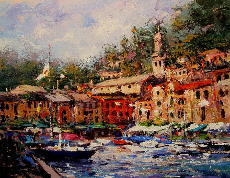 Flags Flyin In Portofino Painting  - Flags Flyin In Portofino Fine Art Print