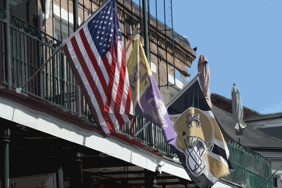 Flags On Bourbon Street Photograph  - Flags On Bourbon Street Fine Art Print