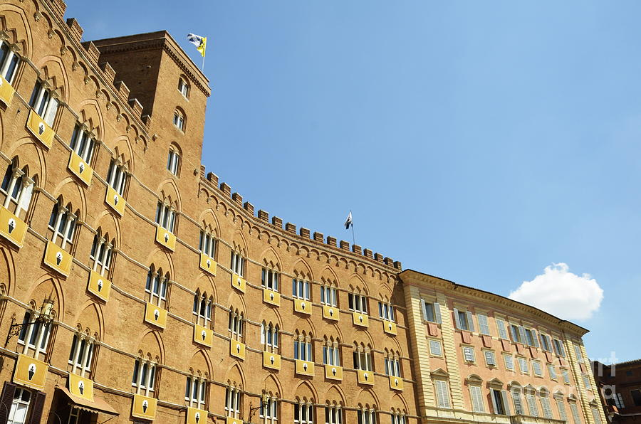 Flags On Building On Piazza Del Campo Photograph  - Flags On Building On Piazza Del Campo Fine Art Print