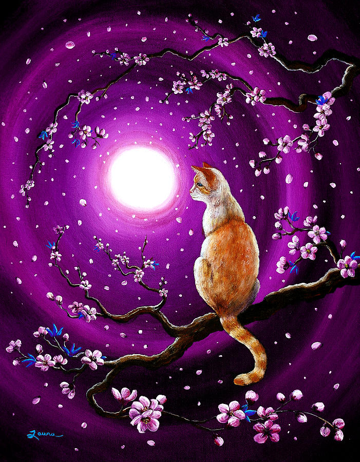 Red Point Painting - Flame Point Siamese Cat In Dancing Cherry Blossoms by Laura Iverson