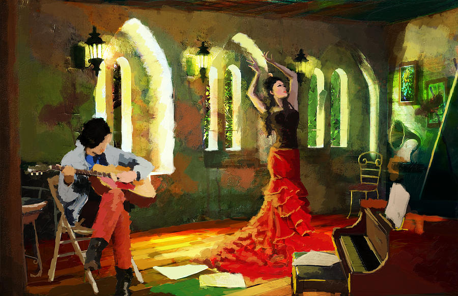Jazz Painting - Flamenco Dancer 017 by Catf