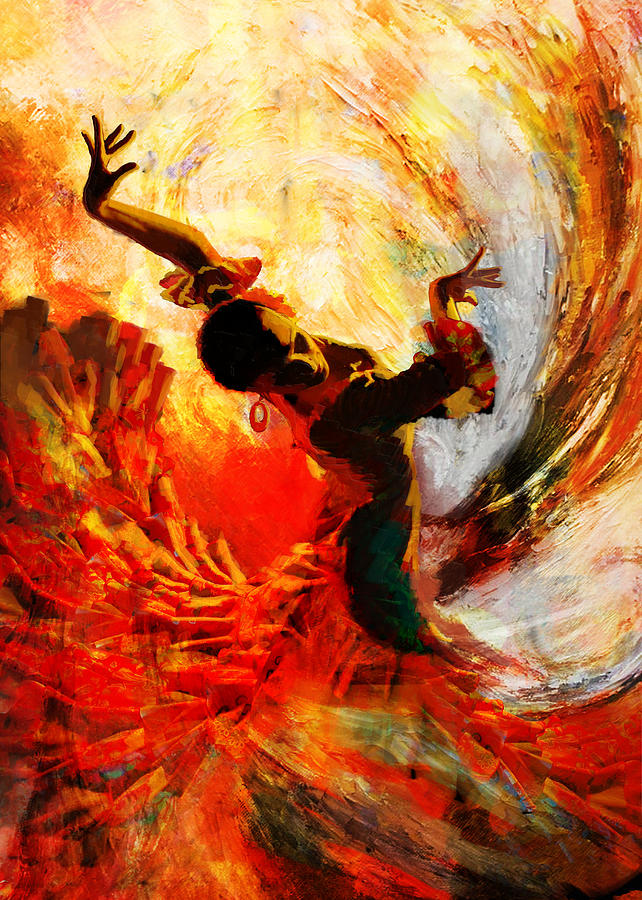 Flamenco Dancer 021 Painting  - Flamenco Dancer 021 Fine Art Print