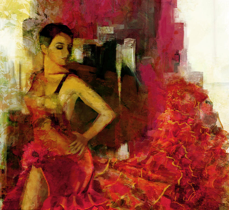 Flamenco Dancer 024 Painting  - Flamenco Dancer 024 Fine Art Print