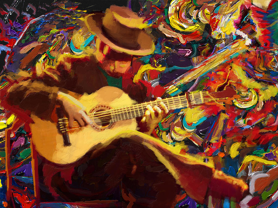 Guitarist Painting Flamenco Guitarist Pai...