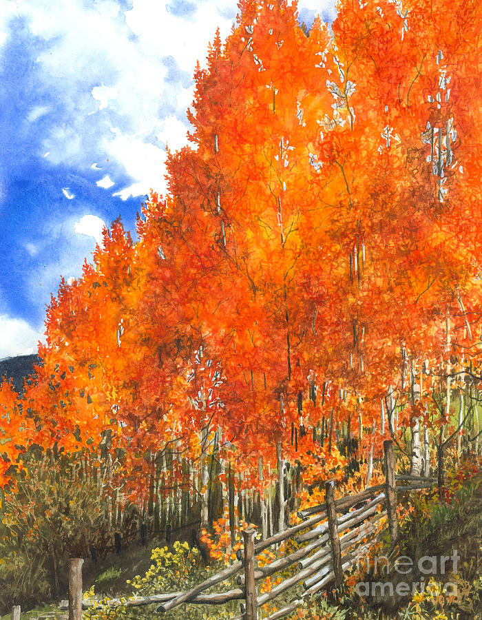 Flaming Aspens Painting  - Flaming Aspens Fine Art Print