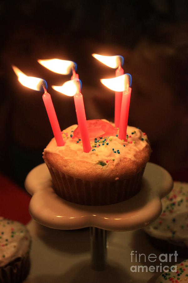 Flaming Birthday Cupcake Closeup Photograph