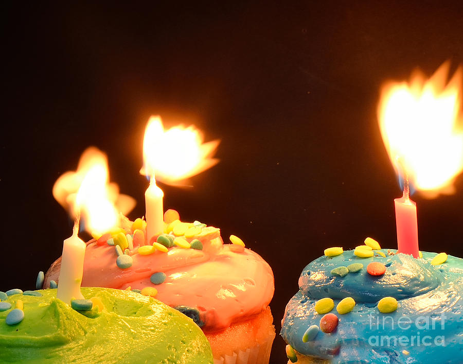 Birthday Photograph - Flaming Cake by Timothy OLeary