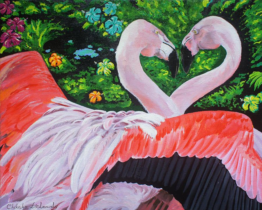 Tropical Painting - Flamingo Paradise by Chikako Hashimoto Lichnowsky