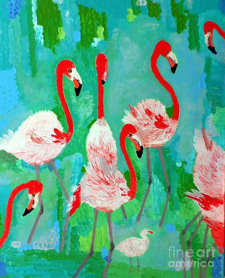 Flamingos 1 Painting  - Flamingos 1 Fine Art Print