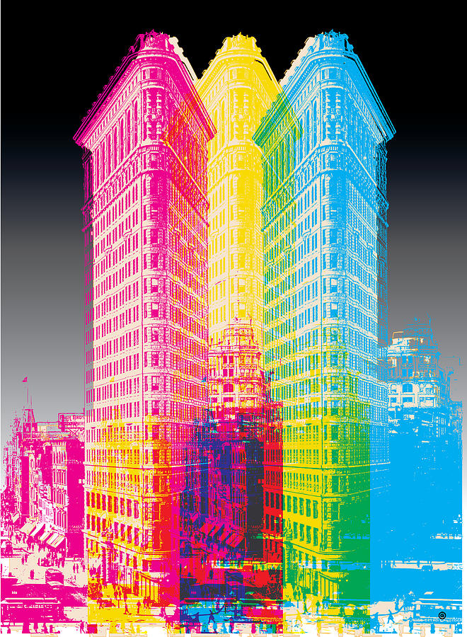 Flat Iron Pop Art Digital Art  - Flat Iron Pop Art Fine Art Print