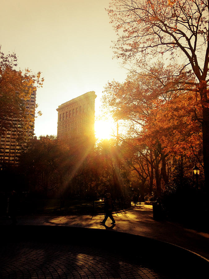 Flatiron Building Sunset - Madison Square Park Photograph