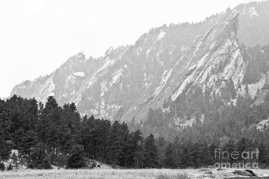 Flatiron In Black And White Boulder Colorado Photograph