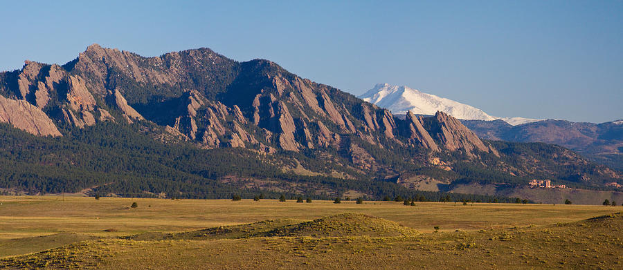 Flatirons And Snow Covered Longs Peak Panorama Photograph