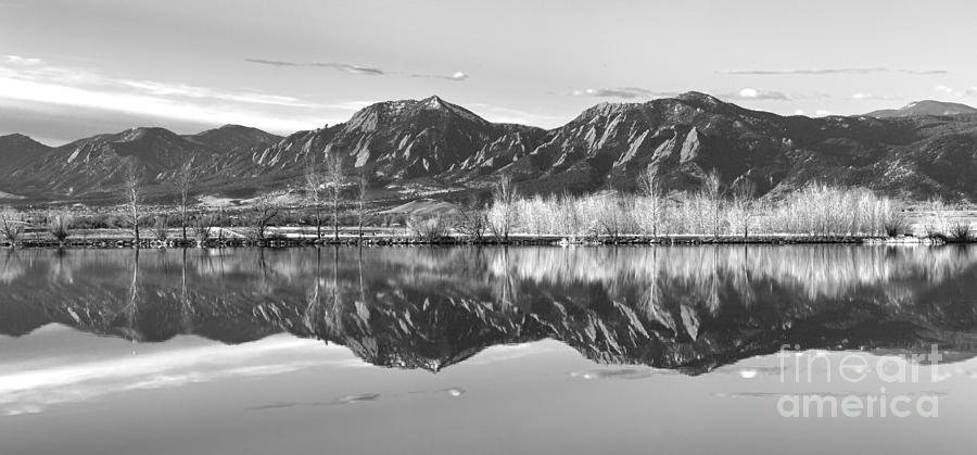 Flatirons Morning Reflections Panorama Boulder Colorado In Bw Photograph