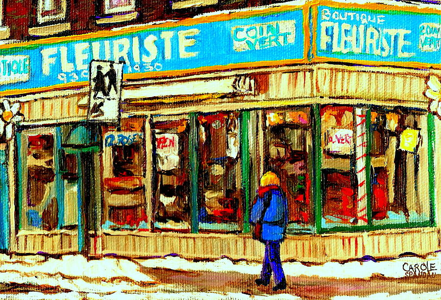 Fleuriste Notre Dame Flower Shop Paintings Carole Spandau Winter Scenes Painting  - Fleuriste Notre Dame Flower Shop Paintings Carole Spandau Winter Scenes Fine Art Print